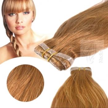 Skin Weft 30cm Haarbreite 60cm Länge Leicht Gewellt Honigblond Dark #27D
