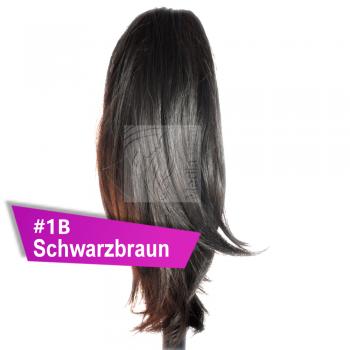 Pferdeschwanz Zopf Haarteil Ponytail 100g 30cm Glatt #1B Schwarzbraun