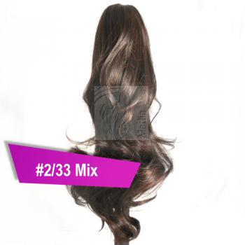 Pferdeschwanz Zopf Haarteil Ponytail 100g 30cm Gewellt #2/33 Mix Rotbraun