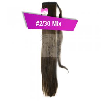 Pferdeschwanz Zopf Haarteil Ponytail 100g 30cm Glatt mit Haarband #2/30 Mix Dunkelbraun