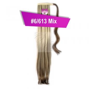 Pferdeschwanz Zopf Haarteil Ponytail 100g 30cm Glatt mit Haarband #6/613 Braun Gesträhnt