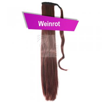 Pferdeschwanz Zopf Haarteil Ponytail 100g 60cm Glatt Weinrot