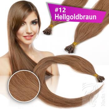 Echthaar Strähnen 1 g 60cm Bonding RB #12 Hellgoldbraun + 2 Clips