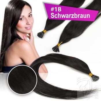 Echthaar Strähnen 0,5 g 45cm Bondings RB #1B Schwarzbraun + 2 Clips