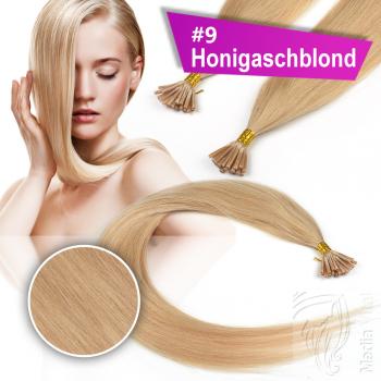 Echthaar Strähnen 1 g 45cm Keratin Bonding RB #9 Honigaschblond + 2 Clips
