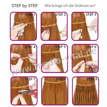 Bicolor Extensions I-Tip Bunte Kunsthaar Strähnen 0,4g 46cm #06 Mix Bicolor