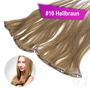 STARTER SET Clip In 3 Teile 9 Clips 40cm 55g #10 Hellbraun + 4 Clips