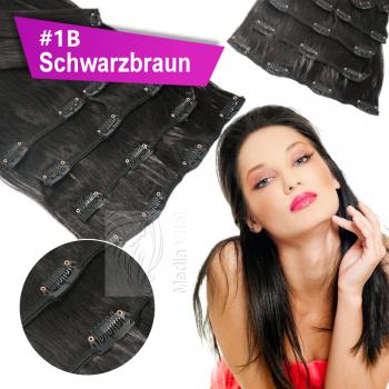 Clip In Set Echthaar Extensions 7 Teile 70g 45 cm #1B Schwarzbraun