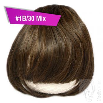 Pony Haarteil Clip In 25-30g Gerade Form Glatt #1B/30 Mix + 2 Tressenclips