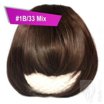 Pony Haarteil Clip In 25-30g Gerade Form Glatt #1B/33 Mix + 2 Tressenclips