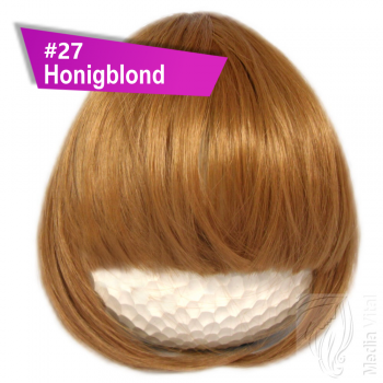 Pony Haarteil Clip In 25-30g Gerade Glatt #27 Honigblond + 2 Tressenclips