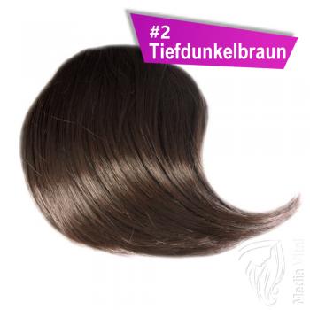 Pony Haarteil Clip In 25-30g Seitliche Form #2 Tiefdunkelbraun + 2 Tressenclips