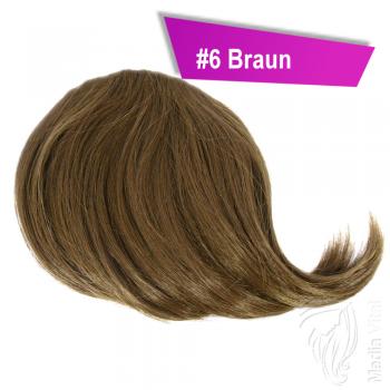 Pony Haarteil Clip In 25-30g Seitliche Form #6 Braun + 2 Tressenclips
