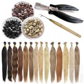 STARTER SET 122 Teile Microring Extensions 0,5g Haarverlängerung 45cm