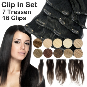 Clip In Set 7 Teile 16 Clips 70g Echthaar Extensions 45 cm