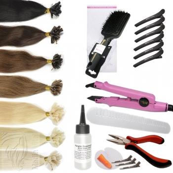 Starter Set 76 Teile Echthaar 45cm 1g Strähnen Haarverlängerung Wärmezange