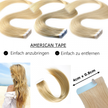 Tape On Extensions Remy Echthaar Strähnen 60cm Tresse 2,5g