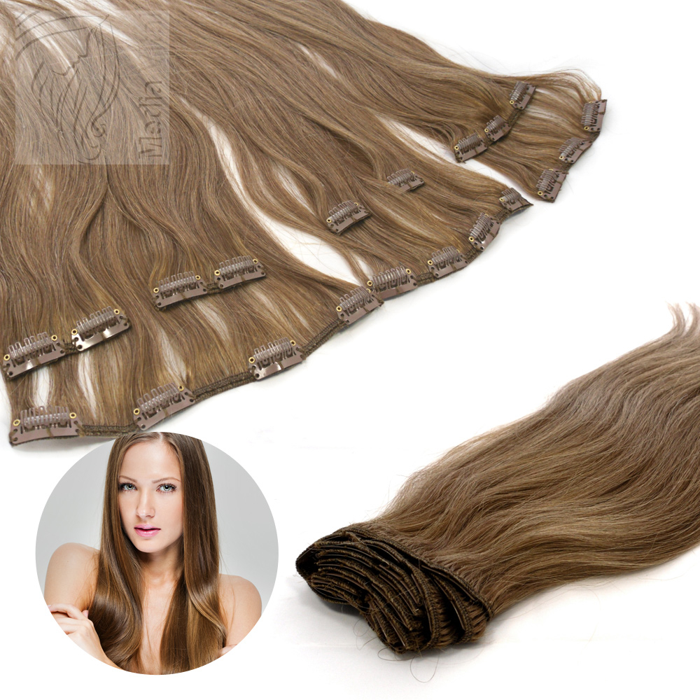 sonderposten clip extensions echthaar 60 cm 12 hellgoldbraun 13 tressen 130g 4 clips 874577. Black Bedroom Furniture Sets. Home Design Ideas