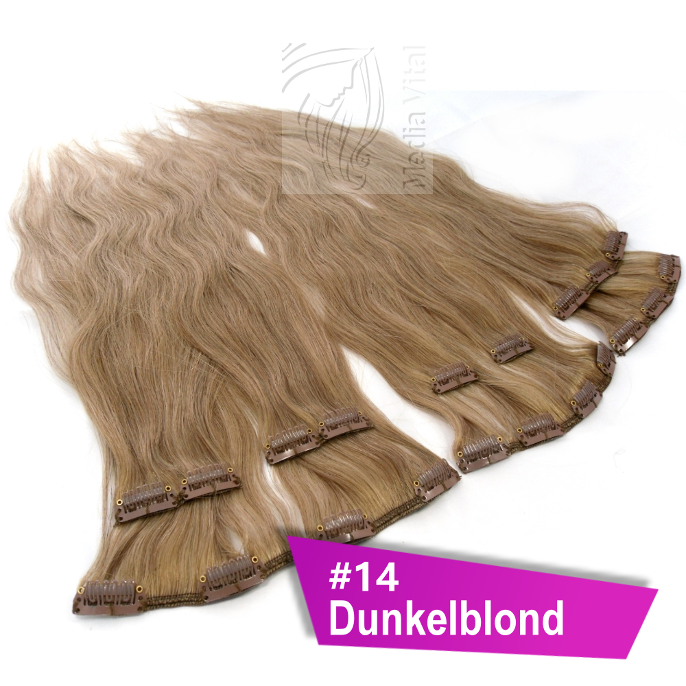 clip in extensions echthaar 60 cm 14 dunkelblond 8 tressen 100g 4 clips 1000060 14. Black Bedroom Furniture Sets. Home Design Ideas