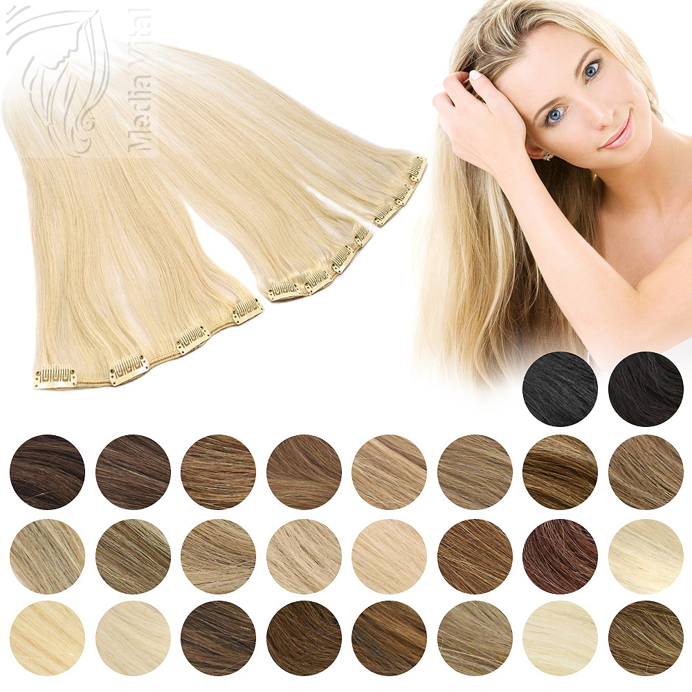 clip in extensions single haarteil echthaar tresse mit clips 60 cm 023059. Black Bedroom Furniture Sets. Home Design Ideas