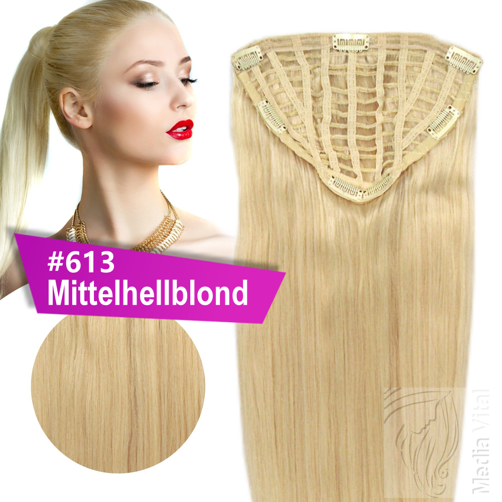 7 clip extensions 100g haarteil 50 cm 613 mittelhellblond 10 clips 022014. Black Bedroom Furniture Sets. Home Design Ideas