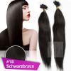 Strähnen 0,5g 60cm Haarverlängerung #1B Schwarzbraun + Set