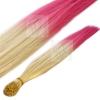 Bicolor Extensions I-Tip Bunte Kunsthaar Strähnen 0,4g 46cm #03 Blond-Pink