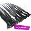 Clip In Extensions Echthaar 45 cm #1 Schwarz 5 Tressen 45g + 4 Spangen