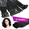 Clip In Extensions Echthaar 40 cm #1 Schwarz 13 Tressen 145g + 4 Clips