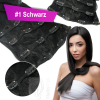 Clip In Set Echthaar Extensions 7 Teile 70g 45 cm #1 Schwarz