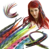 Feder Strähnen Feather Extensions Kunsthaar Strähnchen 0,4g 46cm