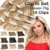 Clip In Set 7 Teile 16 Clips 70g Echthaar Extensions 35 cm