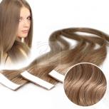 2 Echthaar Strips a 4 cm breit 30cm Länge Hellbraun #10