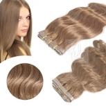 Skin Weft Haarverlängerung 30cm Länge Hellbraun #10