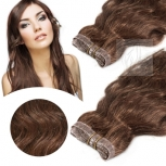 Skin Weft Haarverlängerung 60cm Länge Kastanienbraun #30