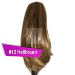 Pferdeschwanz Zopf Haarteil Ponytail 100g 30cm Glatt #12 Hellbraun
