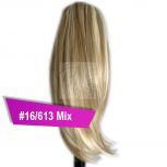 Pferdeschwanz Zopf Haarteil Ponytail 100g 30cm Glatt #16/613 Blond Gesträhnt