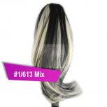 Pferdeschwanz Zopf Haarteil Ponytail 100g 30cm Glatt #1/613 Schwarz Gesträhnt
