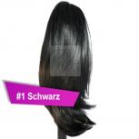 Pferdeschwanz Zopf Haarteil Ponytail 100g 30cm Glatt #1 Schwarz
