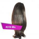 Pferdeschwanz Zopf Haarteil Ponytail 100g 30cm Glatt #2/30 Mix Dunkelbraun