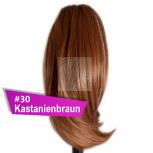 Pferdeschwanz Zopf Haarteil Ponytail 100g 30cm Glatt #30 Kastanienbraun