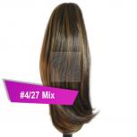 Pferdeschwanz Zopf Haarteil Ponytail 100g 30cm Glatt #4/27 Mix Schokobraun