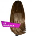 Pferdeschwanz Zopf Haarteil Ponytail 100g 30cm Glatt #8 Mittelbraun