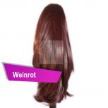 Pferdeschwanz Zopf Haarteil Ponytail 100g 30cm Glatt Weinrot