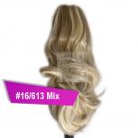 Pferdeschwanz Zopf Haarteil Ponytail 100g 30cm Gewellt #16/613 Blond Gesträhnt
