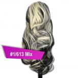 Pferdeschwanz Zopf Haarteil Ponytail 100g 30cm Gewellt #1/613 Schwarz Gesträhnt