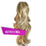 Pferdeschwanz Zopf Haarteil Ponytail 100g 30cm Gewellt #27/613 Mix Blond