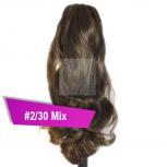 Pferdeschwanz Zopf Haarteil Ponytail 100g 30cm Gewellt #2/30 Mix Dunkelbraun