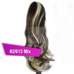 Pferdeschwanz Zopf Haarteil Ponytail 100g 30cm Gewellt #2/613 Dunkelbraun Gesträhnt
