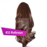 Pferdeschwanz Zopf Haarteil Ponytail 100g 30cm Gewellt #33 Rotbraun